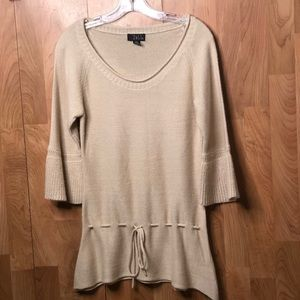 Crewneck Tan Color Bell Sleeve knit tunic sweater